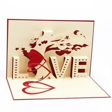 """Valentine's Day Gifts Heart & Tree laser cut 3D Cards With """"LOVE"""" Greeting"""