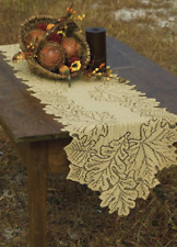 """Heritage Lace GOLDENROD LEAF 14"""" x 36"""" Table Runner  Fall, Thanksgiving"""