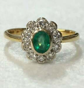 3.Ct Oval Cut Green Emerald Wedding Engagement Ring 14k Yellow Gold Finish 925