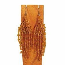 "Dangle Seed Bead Earring 6 Colors 2"" Long Boho Handmade Solid Color Chandelier"