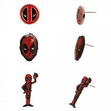 Set of 3 DEADPOOL Earrings - Marvel Comics Official Deadpool Face Waving