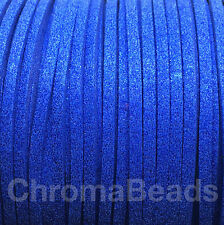 Glitter Faux Suede Cord - 3mm x 1.5mm, choice of 13 colours, choose length