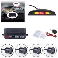 Black Car Parking Sensor Rear 4 Sensors LCD Display Audio Buzzer Alarm Kit