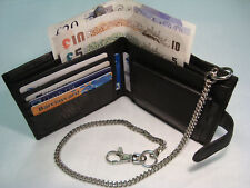 Gents Soft Leather Wallet with Security Chain Black RFID PROOF