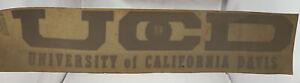 """UC Davis VTG Original 1970s Decal CAL Aggies Sticker For Inside Windows 10""""x2.25"""