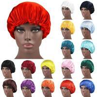 Silk Night Sleep Cap Hair Bonnet Hat Head Cover Satin Adjust Elastic Band