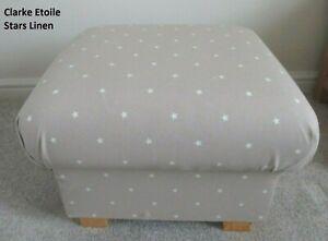 Clarke Etoile Stars Fabric Footstool Pouffe Beige Linen Footstall Nursery Star