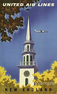 VINTAGE NEW ENGLAND UNITED AIR LINES TRAVEL A3 POSTER PRINT
