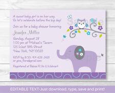 Mod Elephant Owl Forest Friends Printable Baby Shower Invitation Editable PDF