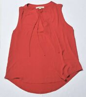 Woman's ANN TAYLOR LOFT Red Tank Top Blouse Sleeveless Rayon Size Large L