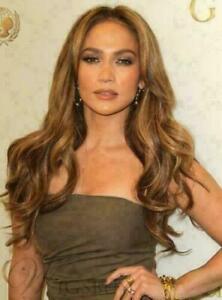 100% Human Hair New Fashion Glamour Women's Long Natural Light Brown Wavy Wigs