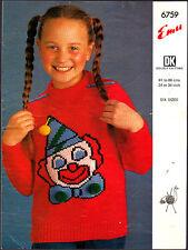 Vintage Knitting Pattern, Emu, Childs Clown Sweater, 24-34in, 6759