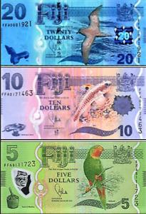 FIJI 3 Pc Note SET $ 5 10 20 DOLLARS 2012-13 P115 P116  P117 UNC