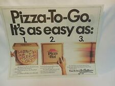Pizza Hut Placemat Pizza-To-Go Unused w/ Care Bears Color Sheet Vintage 1987