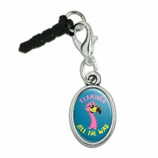 Flamingo All the Way Funny Humor Mobile Phone Headphone Jack Oval Charm