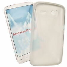 Silikon TPU Hülle Cover Case in Foggy + Displayschutzfolie für HTC Sensation