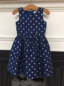 Gymboree Dress Sz 5 Blue Silver Polkadot Bow Sleeveless Holiday Party Christmas