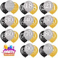 Gold Sparkling Celebration Latex Balloons  Adult Age Birthday Party Decorations