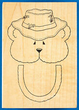 FISHING BEAR Paper Bag Puppet Rubber Stamp by Darcie's - Sack Closure Template