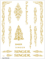 Singer Model 66/99 Filigree  Sewing Machine Restoration Decals Gold Metallic