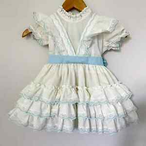 1980s Golden Age Girls Pageant Dress Blue White Lace Ruffles