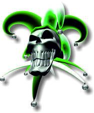 Vinyl sticker/decal Large 180mm jester smiling skull Green - facing left