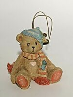 1992 Cherished Teddies Christmas BEAR w/GREEN STOCKING CAP Ornament # 951226