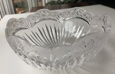 """Mikasa Clear Frosted Crystal Glass Serving Bowl Flowers Roses 9.5"""" Diameter 2qt"""