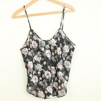 Vintage 90s California Dynasty Sheer Floral Camisole Tank Top Lingerie Black 40""