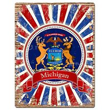 PP1001 USA MICHIGAN State Flag Chic Sign Home Shop Store Room Wall Decor