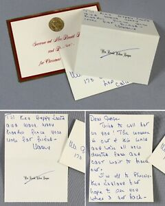 Nancy Reagan wife of Ronald original hand-written letter signed +Xmas card gchac
