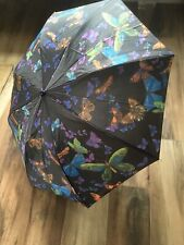 Folding Rain Umbrella Black With Butterflies Print 15 in long