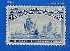1892 US Scott #233 4¢ Santa Maria - Colombian Exposition MLH OG VF- XF