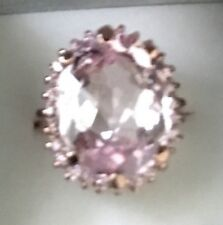 925 Sterling Silver 8.77CT Oval Faceted Cut Pink Kunzite Ring Sz 6.75
