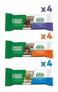 Health Warrior Pumpkin Seed Bars, Variety Pack, 12 Bars