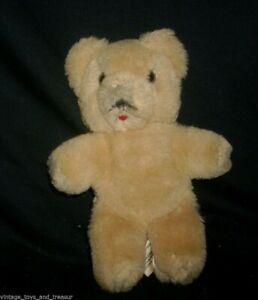 "8"" VINTAGE R DAKIN 100% WOOL BROWN TAN OLD TEDDY BEAR STUFFED ANIMAL TOY PLUSH"