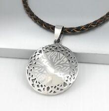 Silber Baum des Lebens Edelstahl Kette Anhänger Braun Leder Halskette Geflochten