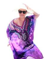 Plus Size XXXXXXXL PURPLE Embellished Kaftan Dress DREAM CATCHER Viscose crepe