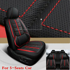 Black/Red Line Car Seat Cover Cushion Leather Full Set For Interior Accessories