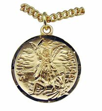 "Gold Over Sterling Silver St Michael Round 15/16"" Saint Medal on 20"" Chain"