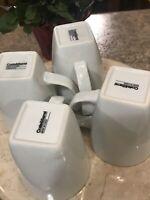 "Crate & Barrel ""WHITE"" ~ Set of 4 ~ Square Bottom Coffee / Tea Mugs ~ 4"" Tall"