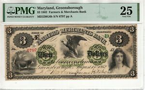 1862 $3 FARMERS BANK GREENSBOROUGH MARYLAND OBSOLETE NOTE PMG VERY FINE VF 25