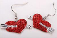 Arrow heart dangle earrings valentines day gifts women her bling jewelry ED19