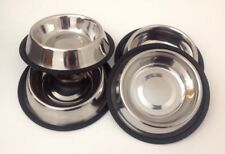 4 X Pet Food/Water Bowl/Dish-Cat/Dog-Anti-skid/Rubber-Stainless Steel 16 Oz