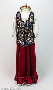 Renaissance Peasant Lady 4 Pc Burgundy Navy Tan Skirt Blouse Vest Headpiece S/M