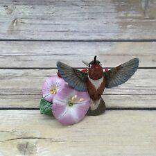 "Danbury Mint Rufous Hummingbird 3"" Bird on Morning Glory Ornament"