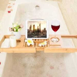 UK Natural Bamboo Bath Caddy Tray Bathtub Rack Shelf Storage Wine Tablet Holder