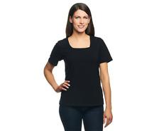 Denim & Co. Essentials Perfect Jersey Short Sleeve Square Neck Top Black Size L