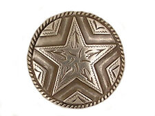 """Western Equestrian Tack Antique Silver Two Star 1 1/8"""" Concho's Set of 6"""