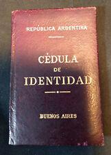 1924 Vtg Republica Argentina Identity Card Book Cedula De Identidad Buenos Aires